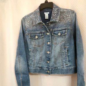 Cache Ladies Jean Jacket with silver/gold accents